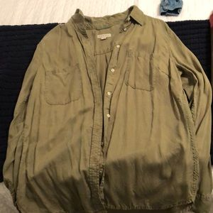 Button up, olive green shirt!